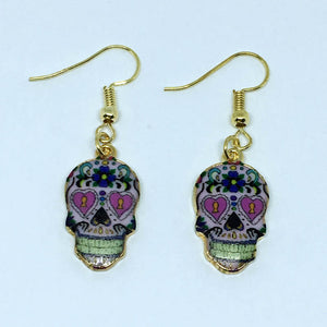 Calavera Expandable Sugary-sweet whimsical skull Earrings celebrate Mexican Day of the Dead Halloween Sugar Skull Earring 1 Pair