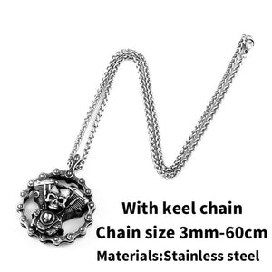 Cool Heavy Bicycle Chain Skull Motorcycles Engine Pendant Stainless Steel Jewelry Motor Biker Skull Cross Men Pendant