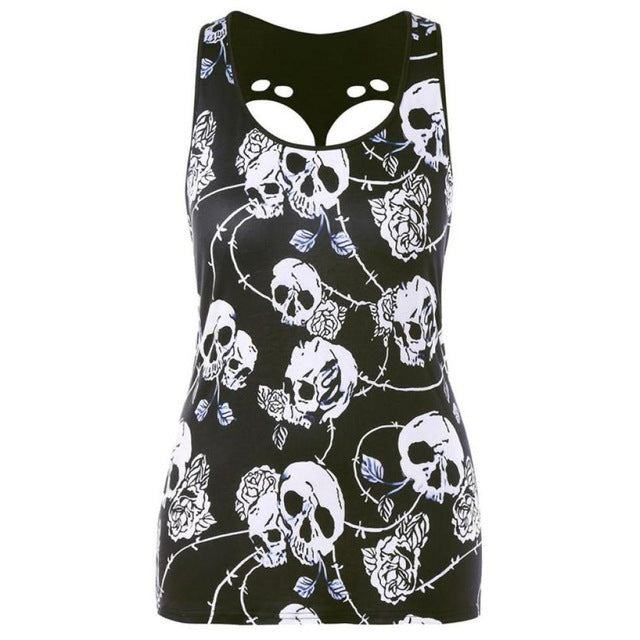 New Fashion Women Plus Size Skull Print Hole Hollow Out Sleeveless Black Creative design  Blouse Pullover Tops Shirt