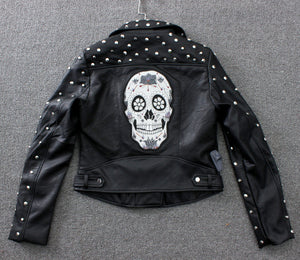 Spring Black Studded Short Faux Leather Jacket Lapel Collar Long sleeves with zips Back With Skull Embroidery Biker JACKETS