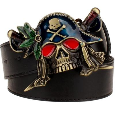 Fashion New men's leather belt metal buckle colored pirate belts punk rock exaggerated skull pirate belt hip hop girdle