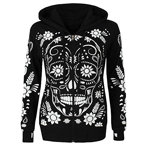 Women Plus Size Hoodies Zip Up Tops Fashion Skull Flowers