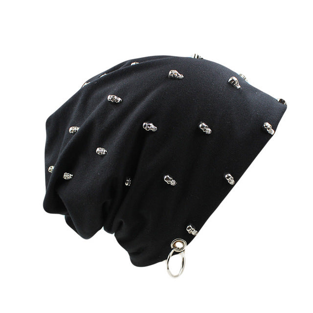New Fashion  Casual Hat With Skull Hoop Brand Caps Winter Warm Beanies