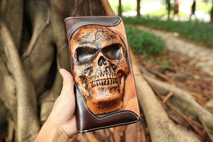 New punk type tanning cowhide skeleton skull wallet