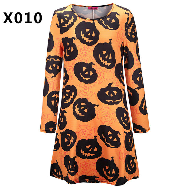 Casual Loose Round Neck Halloween Xmas Party Dress