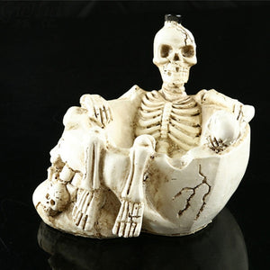 Halloween Resin Terror Model White Skull Wine Cup Ashtray Prop Skeleton