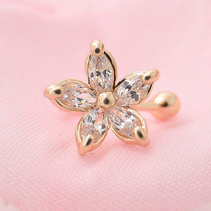 1PC Women's Fashion Cz Crystal Flower U Shape Ear Cuff Clip-on No Piercing Earring