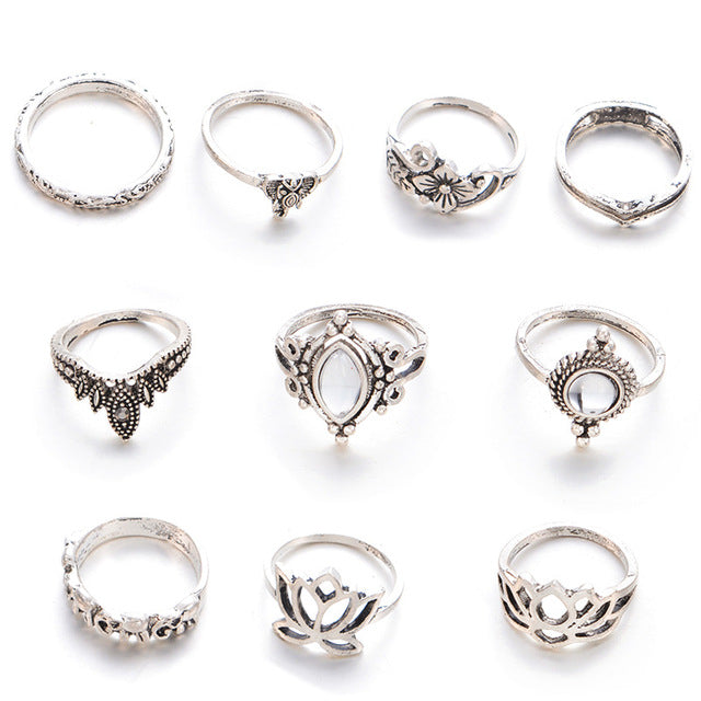 10pcs/set Bohemian Finger Midi Ring Sets Steampunk Carved Hollow Out Flower Knuckle Rings for Women Vintage Silver Color Jewelry