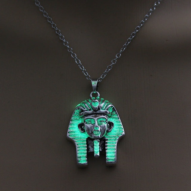 Luminous Necklace Egyptian Sphinx Pendant Glow In The Dark Necklace Vintage Necklace Jewelry For Women Gift Sweater Chain