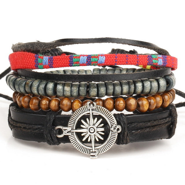 1 Set 4PCS leather bracelet Men's multi-layer bead bracelet women's retro punk casual men's jewelry bracelet jewelry accessories
