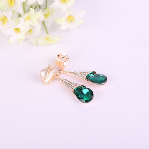Fashion Luxury Rhinestone Crystal Water Drop Long Earrings Jewelry Bride Wedding Earrings Non Pierced Ear Clip Ear Cuff