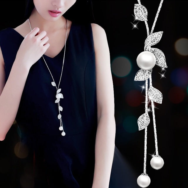 Imitation Pearl Necklaces Retro Hot Popular Vintage Leaf Pearl Collar Statement Necklace Long Jewelry For Women