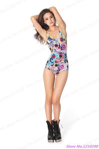Muscle Women Swimwear DAY OF THE DEAD Swimsuit One Piece Sexy