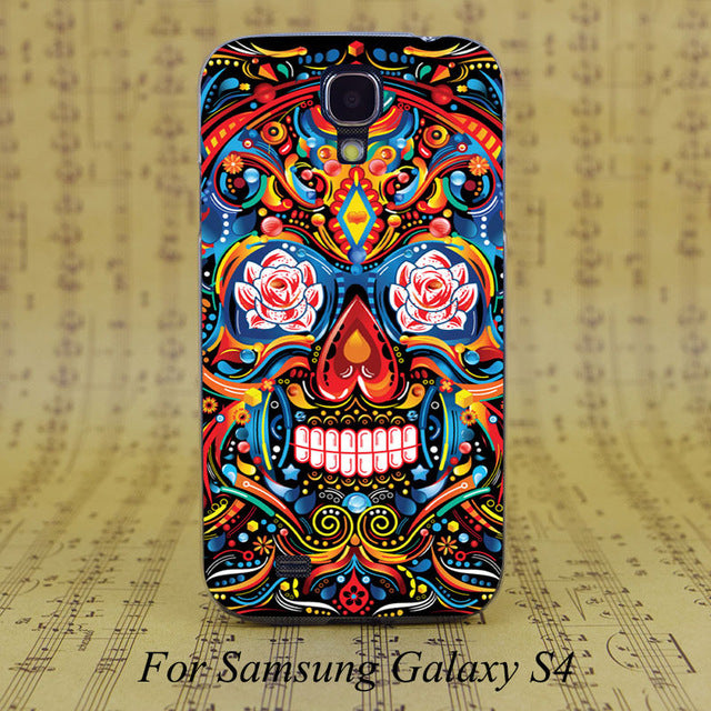 DREAM FOX Mexican Skull Flower Transparent Hard PC Case Cover For Samsung Galaxy S 4 5 6 7 8 Mini Edge Plus Note 3 4 5 8