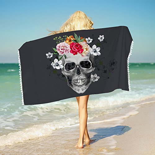 "Sleepwish Skull Bathroom Towels Skull Flower Beach Towel with Tassels Super Soft Boys Girls Yoga Mat Towel 1 Piece (Red, 30""x60"")"