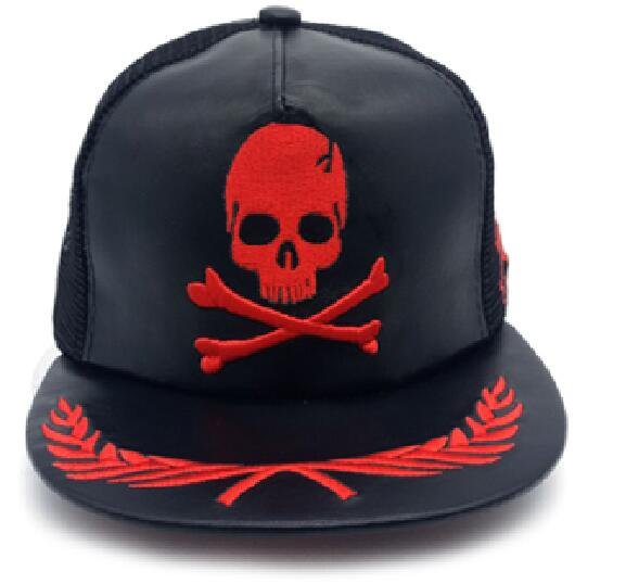 Unisex Hip Hop Hats Skull Metal Plain Snapback Caps Men Casual Outdoor Sun Hat Baseball Cap Flat-brimmed Hat