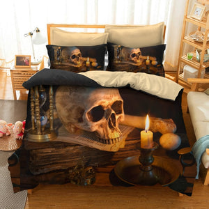 Skull Flame Bedding Set Super King Queen Size