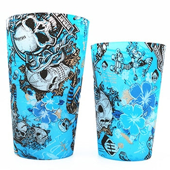 Creative Multicolor FDA Silicone Foldable Cool Mug Portable Tea Coffee Beer Skull Mug Cup For Outdoor Travel  Wedding Gift