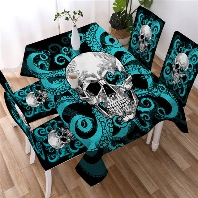 Octopus and Skull Tablecloth Tentacles Gothic Hand Waterproof Table Cloth Green and Red