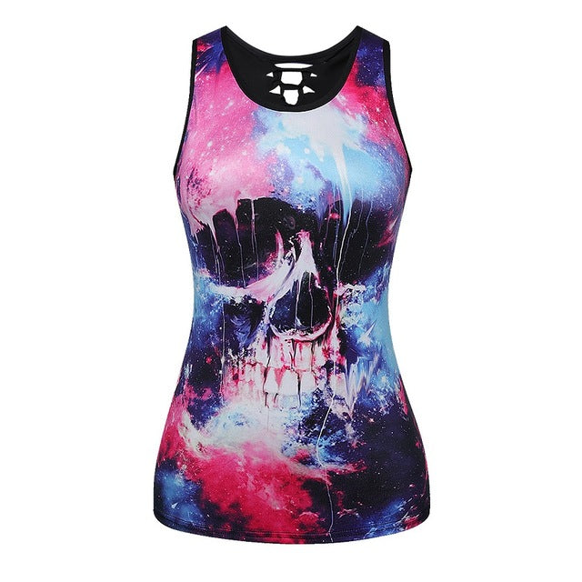 Summer 3D Vests Back Hollow Out Sexy Tops Camisole Sexy Skull Punk Tops Brand Clothing Shirt