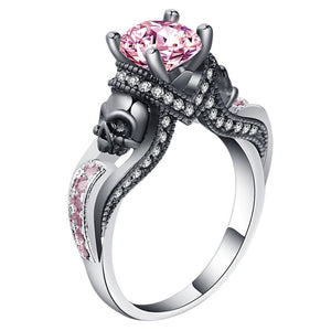 Black Skull Ring Silver Color Fashion Wedding & Engagement Crystal Ring Set Jewelry For Women Jewelry