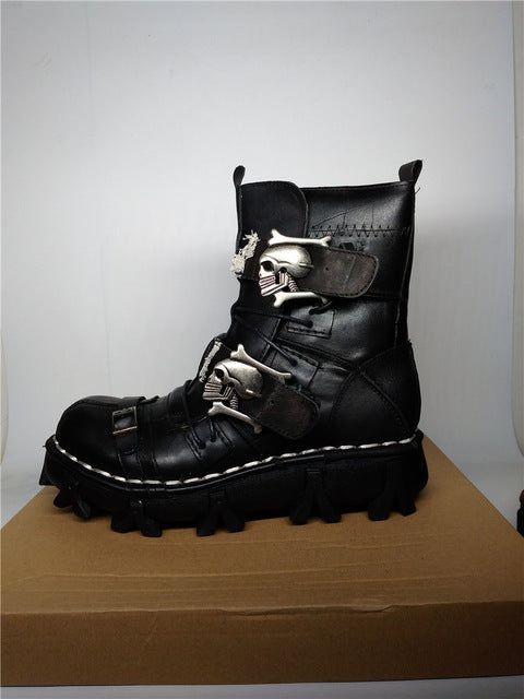 Size 38~49 Genuine Leather Men Motorcycle Boots Black Brown Ankle Boots Punk Style Army Boots Skull Metal