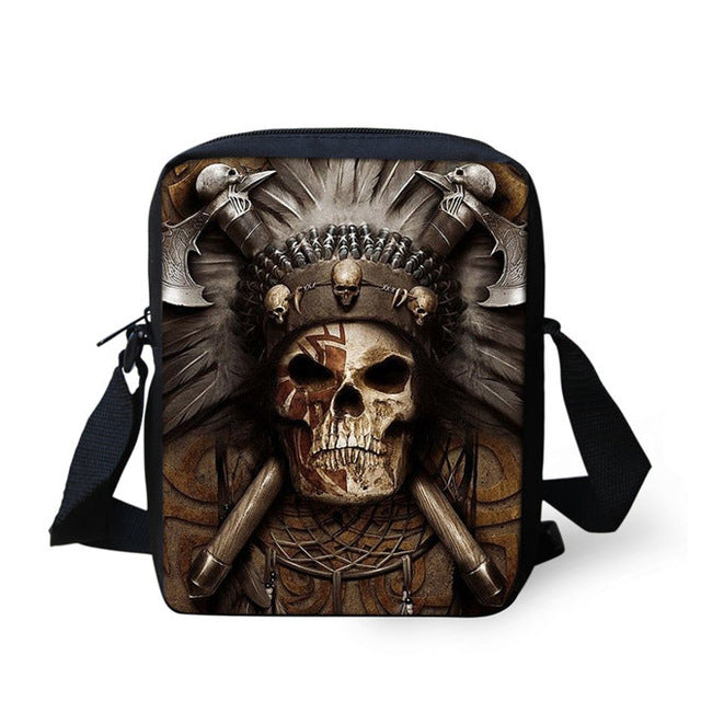 Brand Designer Punk Skull Head Printing Mens Messenger Bags for Men Casual Crossbody Bags,Boys Small Kids Travel Shoulder bag