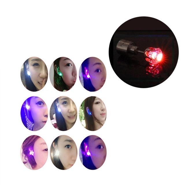 1PCS Crown Charm LED Earring Glowing in Dark Crystal Stainless Steel Stud Earring For Women Jewelry Anillos Party Gifts