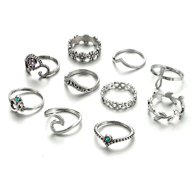 10pcs/Set Bohemia Crown Flower Crystal Wave Rings Set Knuckle Finger Midi Rings for Women Party Jewelry 4227