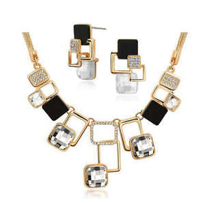 Luxury Crystals Square Jewelry Sets Geometric Earrings Square Pendant Snake Chain Necklace Jewelry Women Parure Bijoux