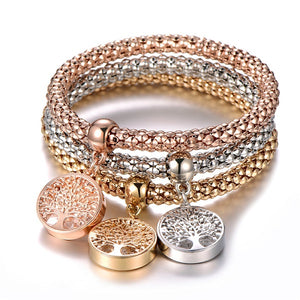 3Pcs Tree of Life Bracelet Popcorn Owl Heart Anchor Musical Note Charm Bracelets For Women Pulseria Feminina Boy & Girl Jewelry
