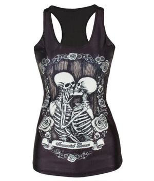 Hot V46 spring new 2015 women t shirt  Kiss skull black Vest tops Sexy women's clothing