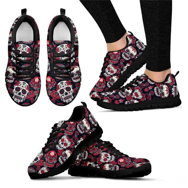 Sugar Skull Printed Running Shoes Lightweight Mesh Men's Shoes Flats Outdoor Sport Shoes