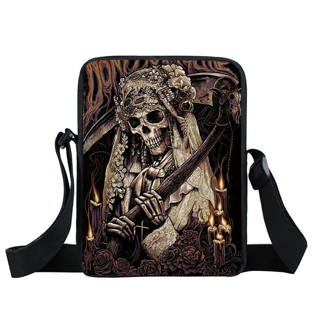 Grim Reaper Skull Handbags Women Messenger Bags Cool Rock Crossbody Bag Kids Shoulder Bag For Teenager Boys Girls Best Gift