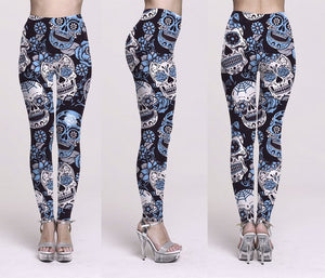 Trending Product Halloween Sugar Skull Digital Print Women's Leggings High Quality Gothic Ankle Pant plus size for women