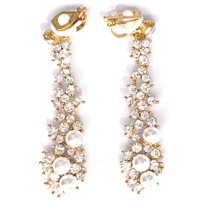 Bride Wedding Jewelry Luxury Full Rhinestone Crystal Clip On Earrings Long Simulated Pearl Earring Without Pierced Ear Clip