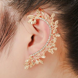 1pcs Right Left Ear Clip Fashion Rhinestone Hot Earcuff Jewelry Meniscus Golden Clip On Earrings Ear Cuffs For Women