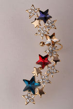 Star left ear wrap cuff clip earrings for women gold silver color austrian crystal punk jewelry