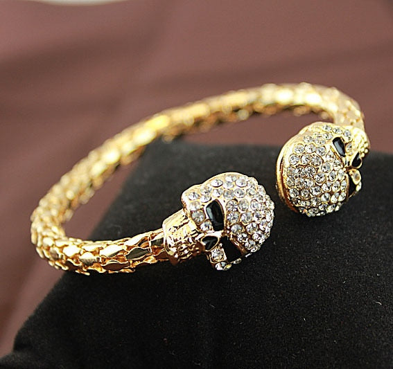 Vintage gold Colou bangle jewelry skull with rhinestone