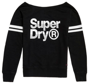 IMBRACAMINTE FEMEI SUPERDRY Pulover Fashion Fitness Off Shdr Sweat Negru - vgeneration.ro