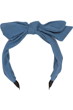Denim Chambray Bow Headband - Eva Franco