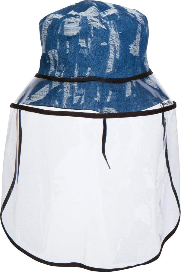 Distressed Denim Bucket Hat With Detachable Face Shield - Eva Franco