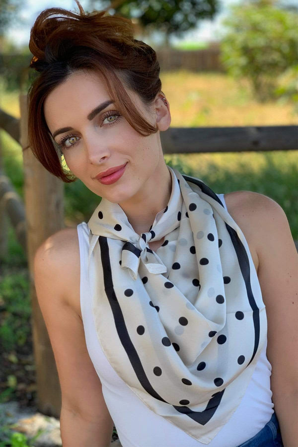 Khaki Polka Dots and Stripes Scarf 24 x 24 - Eva Franco