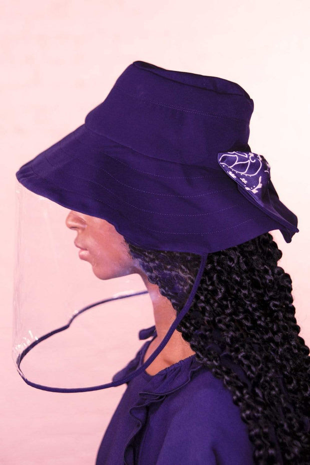 Navy Soft Brim Bucket Hat With Face Shield NON DETACHABLE 1