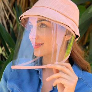 Pink Linen Bucket Hat With Detachable Face Shield