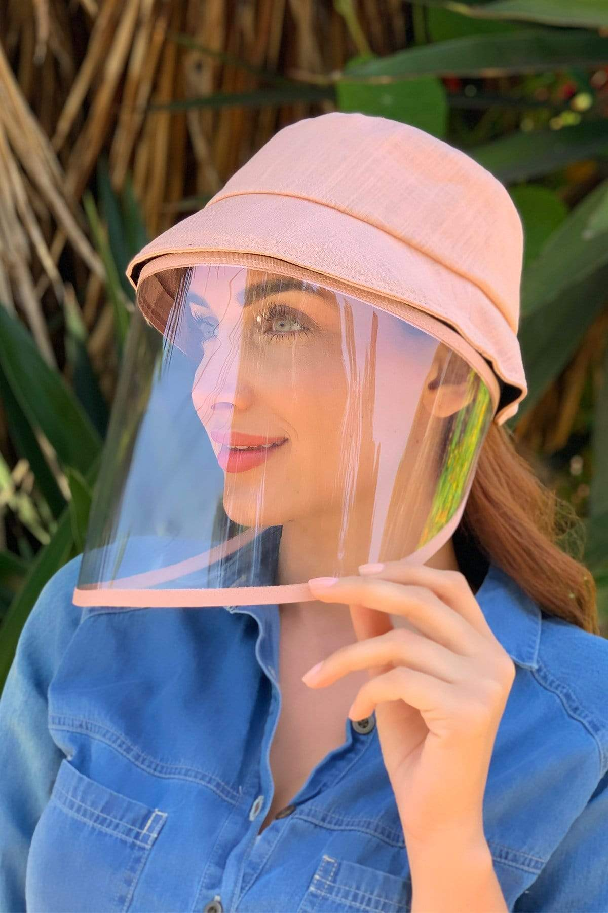 Eva Franco Accessory Pink Linen Bucket Hat With Detachable Face Shield