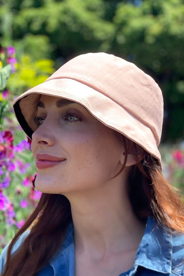 Pink Linen Bucket Hat With Detachable Face Shield - Eva Franco