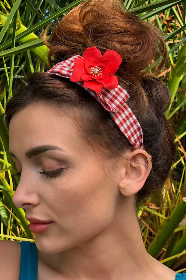 Red Plaid Headband with Detachable Daisy Pin - Eva Franco