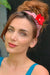 Eva Franco Accessory Red Plaid Headband with Detachable Daisy Pin