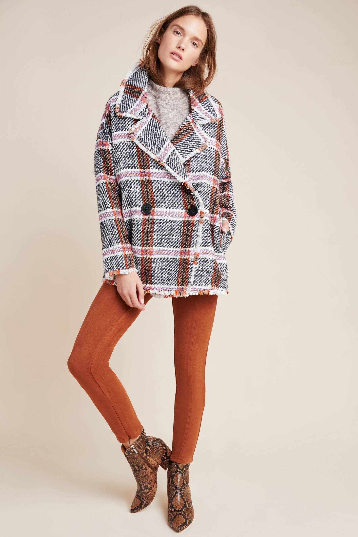 Eva Franco Coat Carrie Double Breasted Plaid Tweed Coat